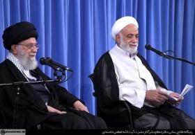 سخنرانی حجتالاسلام والمسلمین قرائتی در جلسه درس خارج فقه رهبر انقلاب اسلامی