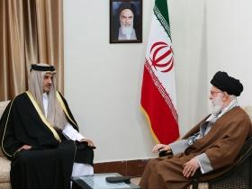دیدار امیر قطر و هیئت همراه با رهبر ...
